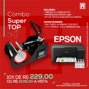 kit Combo Prensa Térmica Caneca + Impressora Epson 3110 Sublimática