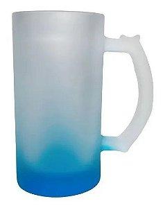Caneca de Chopp Jateada Degradê Azul 475ml importada