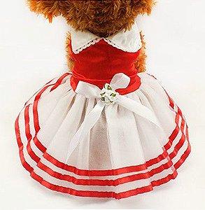 Vestido Para Cachorro Verão - Vermelho