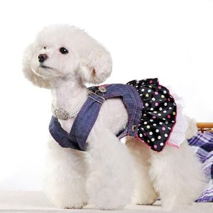 Vestido Para Cachorro Jardineira Jeans