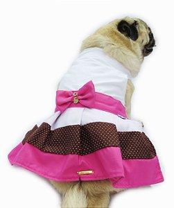 Vestido Para Cachorro Rosa e Branco com Laço