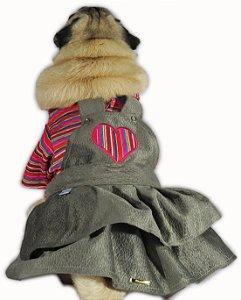 Roupa de Cachorro Para o Frio Vestido Inverno Listrado