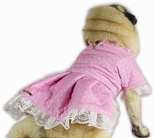 Roupa de Cachorro Para o Frio Vestido Inverno Rosa