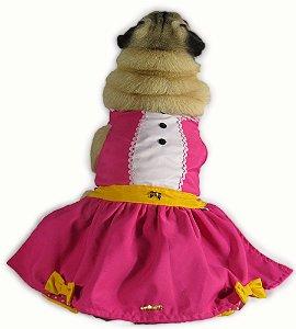 Vestido Para Cachorro Verão Rosa e Amarelo