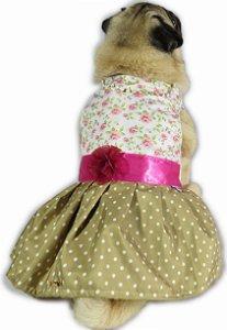 Vestido Para Cachorro Florido Fashion Marrom + Colar