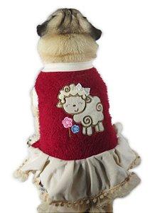 Vestido de Cachorro Inverno frio Ovelhinha Vermelha