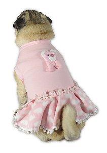 Vestido de Cachorro Inverno frio Ursinho Rosa