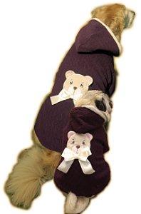 Roupa de Cachorro Grande e Pequeno Inverno Frio Agasalho Marrom Ursinho