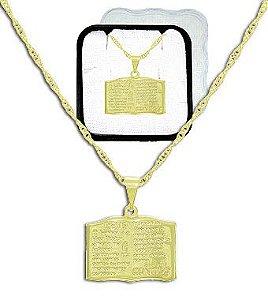 Gargantilha folheada a ouro c/ pingente contendo o Salmo 23 (acompanha caixinha em acrílico)