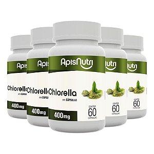 Kit 5 Chlorella Clorela Apisnutri 60 cápsulas