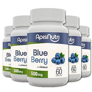 Kit 5 Blueberry 500mg Apisnutri 60 cápsulas