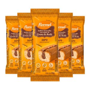 Kit 5 Bolinho Integral Flormel Zero Açúcar 40g