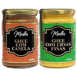 Kit 2 Manteiga Ghee Madhu Canela/Ervas finas 300g