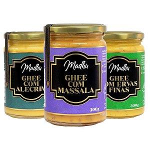 Kit 3 Manteiga Ghee Madhu Massala/Ervas Finas/Alecrim 300g