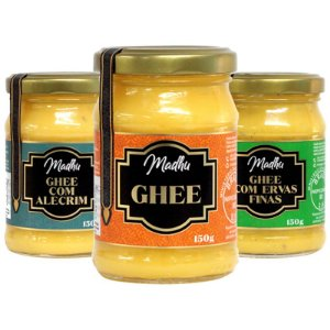 Kit 3 Manteiga Ghee Madhu Tradicional/Ervas Finas/Alecrim 150g