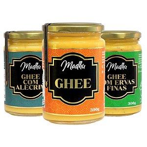 Kit 3 Manteiga Ghee Madhu Tradicional/Ervas Finas/Alecrim 300g