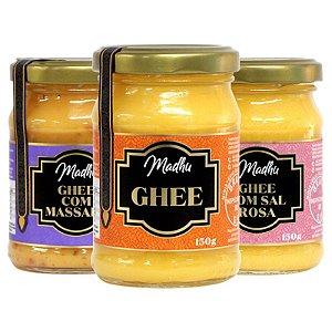 Kit 3 Manteiga Ghee Madhu Tradicional/Massala/Sal Do himalaia 150g