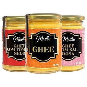 Kit 3 Manteiga Ghee Madhu Tradicional/Sal do himalaia/Tomate Seco 300g