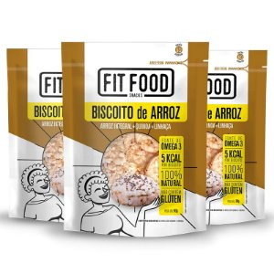 Kit 3 Biscoito de Arroz Fit Food Quinoa + Linhaça 90 gramas