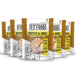 Kit 5 Biscoito de Arroz Fit Food Quinoa + Linhaça 90 gramas