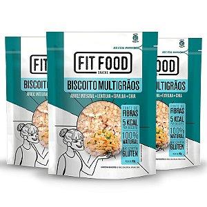 Kit 3 Biscoito de Arroz Fit Food Lentilha + Ervilha + Chia 90 gramas