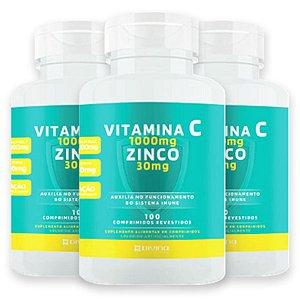 Kit 3 Vitamina C 1g + Zinco 30mg Divina Pharma 100Und