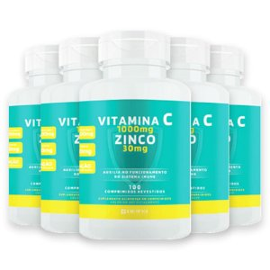Kit 5 Vitamina C 1g + Zinco 30mg Divina Pharma 100Und