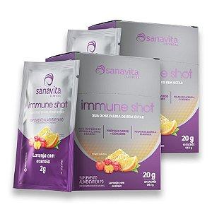 Kit 2 Immune Shot Sanavita Laranja com Acerola Display 10 Sachês