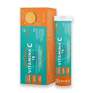 C-Triple Efervescente Vitamina C 1g + Zinco 10mg + Vitamina D 400Ui Divina Pharma 10Und