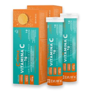 Kit 2 C-Triple Efervescente Vitamina C 1g + Zinco 10mg + Vitamina D 400Ui Divina Pharma 10Und