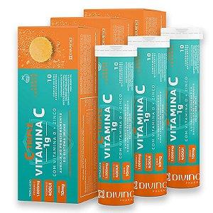 Kit 3 C-Triple Efervescente Vitamina C 1g + Zinco 10mg + Vitamina D 400Ui Divina Pharma 10Und