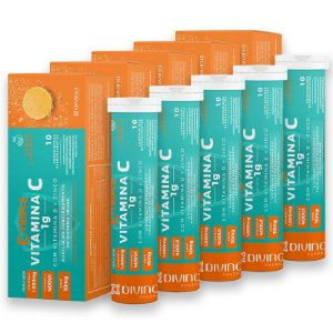 Kit 5 C-Triple Efervescente Vitamina C 1g + Zinco 10mg + Vitamina D 400Ui Divina Pharma 10Und