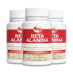 Kit 3 Beta Alanina Vitafor 120 Cápsulas