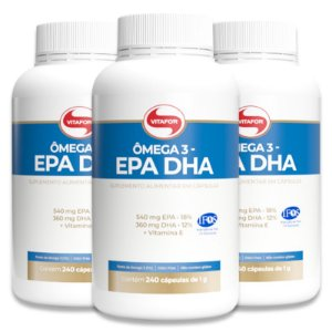 Kit 3 Ômega 3 EPA DHA 1g Vitafor 240 Cápsulas