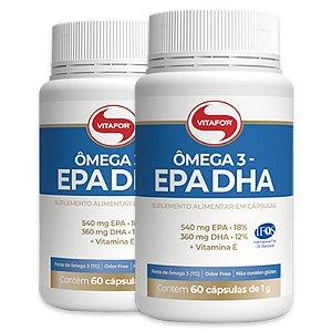 Kit 2 Ômega 3 EPA DHA 1000mg Vitafor 60 cápsulas