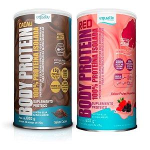 Kit 2 Body Protein Equaliv 600g Frutas Vermelhas + Cacau