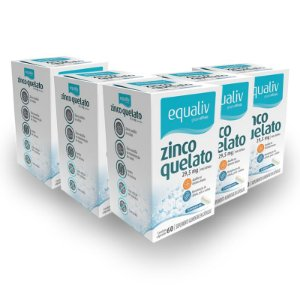 Kit 5 Zinco Quelato 29,59mg Equaliv 60 cápsulas