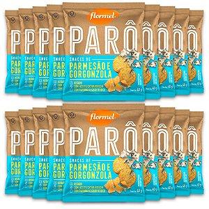 Kit 18 Biscoito de Polvilho Parmesão e Gorgonzola Parô Flormel 40G