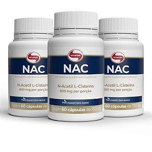 Kit 3 NAC N-Acetil L-Cisteína 600mg Vitafor 60 cápsulas