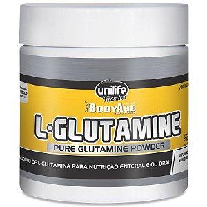 L-Glutamina 100% pura em pó 300g Unilife
