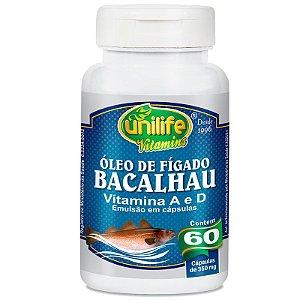 Óleo de Fígado de Bacalhau 60 cápsulas Unilife