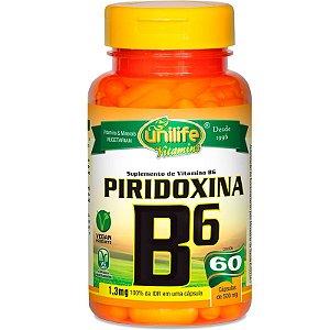 Vitamina B6 Piridoxina 60 cápsulas Unilife