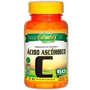Vitamina C Ácido Ascórbico 60 cápsulas Unilife