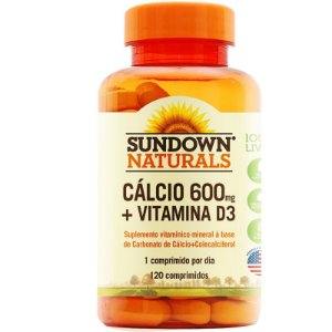 Cálcio 600mg + Vitamina D3 Sundown 120 cápsulas