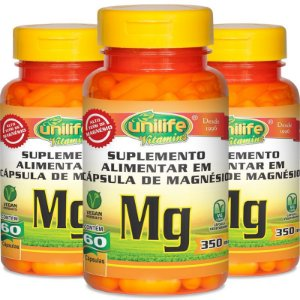 Kit 3 Magnésio Quelato Unilife 60 Cápsulas