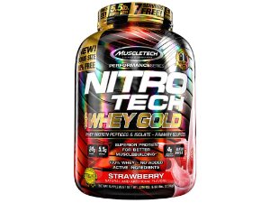 Nitro tech Whey Gold Muscletech 2,51kg Strawberry