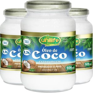 Kit 3 Óleo de Coco Extra Virgem Unilife 500ml