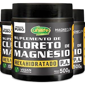 Kit 3 Cloreto de Magnésio Hexahidratado P.A Unilife 500g em pó