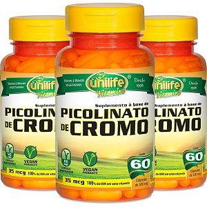 Kit - 3 Picolinato de Cromo Unilife 60 cápsulas