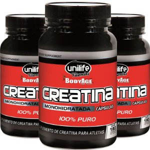 Kit - 3 Creatina ATP Monohidratada 500mg Unilife 180 cápsulas